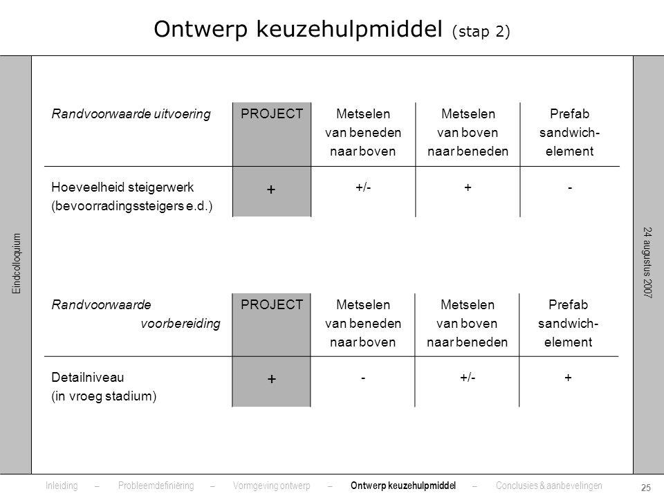 24 augustus 2007 25 Eindcolloquium Ontwerp keuzehulpmiddel (stap 2) Randvoorwaarde uitvoeringPROJECTMetselen van beneden naar boven Metselen van boven