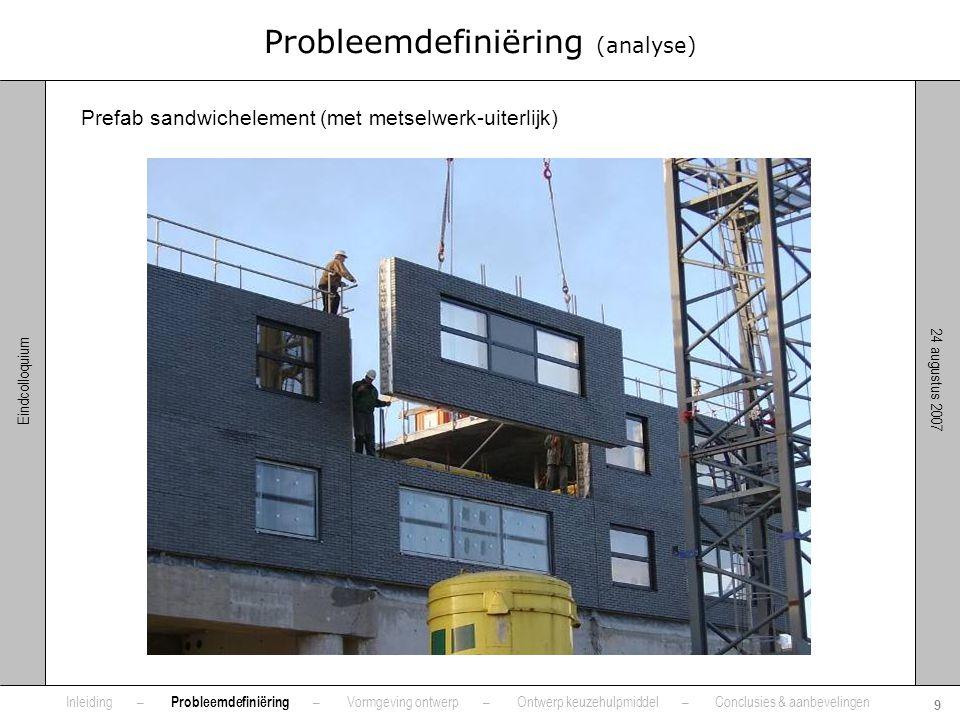 24 augustus 2007 9 Eindcolloquium Probleemdefiniëring (analyse) Prefab sandwichelement (met metselwerk-uiterlijk) Inleiding – Probleemdefiniëring – Vo