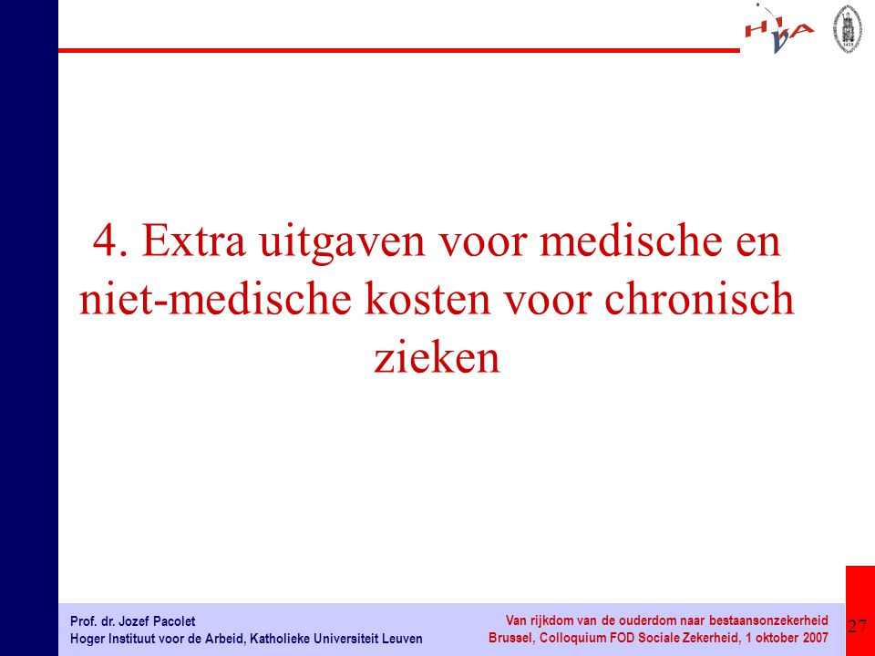 27 Prof. dr. Jozef Pacolet Hoger Instituut voor de Arbeid, Katholieke Universiteit Leuven Van rijkdom van de ouderdom naar bestaansonzekerheid Brussel