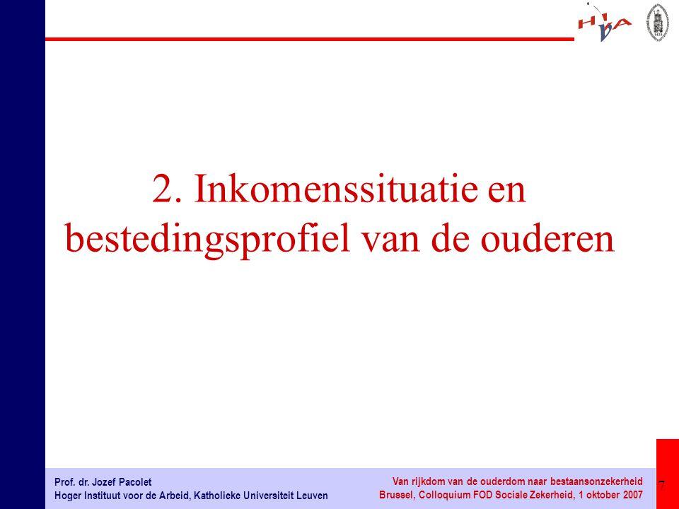 7 Prof. dr. Jozef Pacolet Hoger Instituut voor de Arbeid, Katholieke Universiteit Leuven Van rijkdom van de ouderdom naar bestaansonzekerheid Brussel,