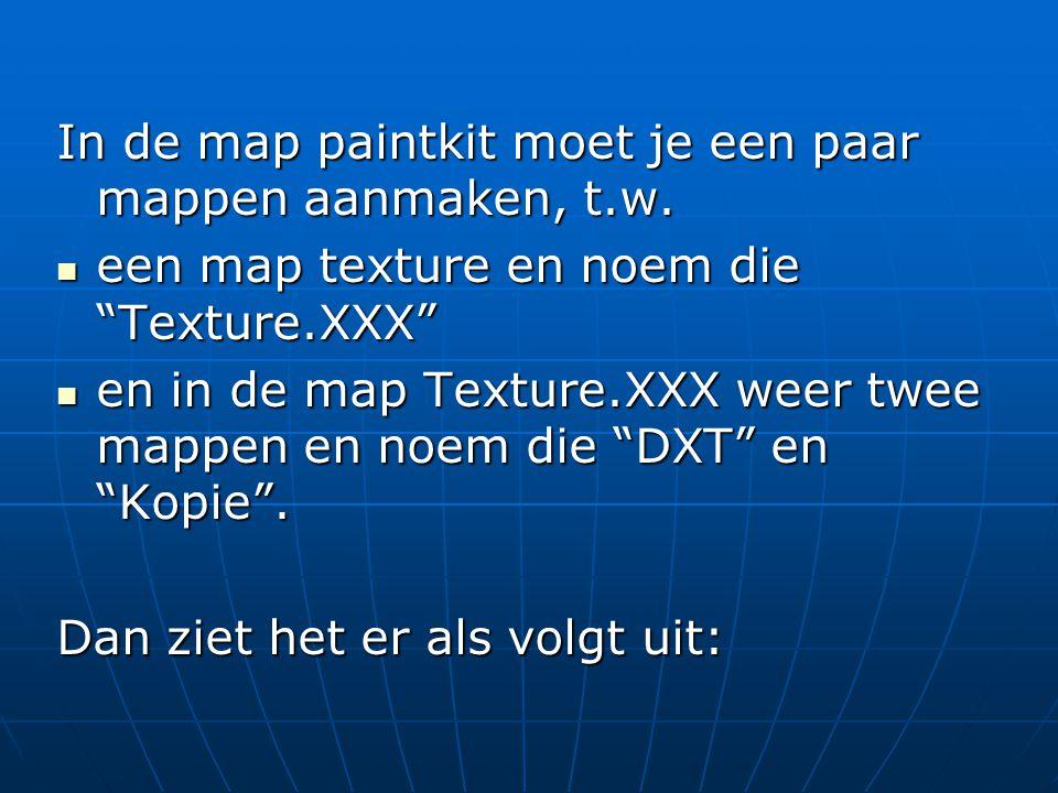 In de map paintkit moet je een paar mappen aanmaken, t.w.