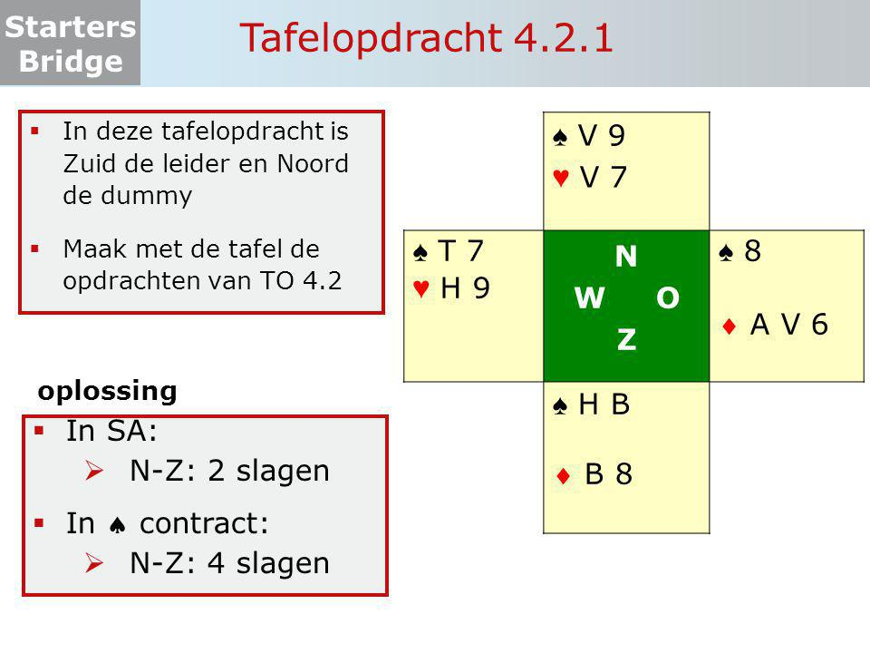 Starters Bridge Tafelopdracht 4.2.1 ♠ V 9 ♥ V 7 ♠ T 7 ♥ H 9 N W O Z ♠ 8  A V 6 ♠ H B  B 8  In deze tafelopdracht is Zuid de leider en Noord de dumm