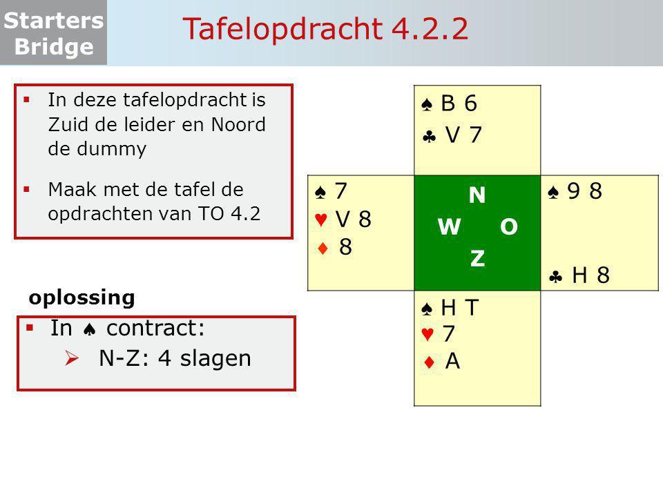 Starters Bridge Tafelopdracht 4.2.2 ♠ B 6  V 7 ♠ 7 ♥ V 8  8 N W O Z ♠ 9 8  H 8 ♠ H T ♥ 7  A  In deze tafelopdracht is Zuid de leider en Noord de