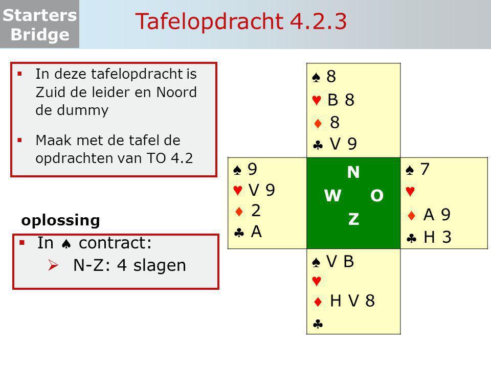Starters Bridge Tafelopdracht 4.2.3 ♠ 8 ♥ B 8  8  V 9 ♠ 9 ♥ V 9  2  A N W O Z ♠ 7 ♥  A 9  H 3 ♠ V B ♥  H V 8   In deze tafelopdracht is Zuid