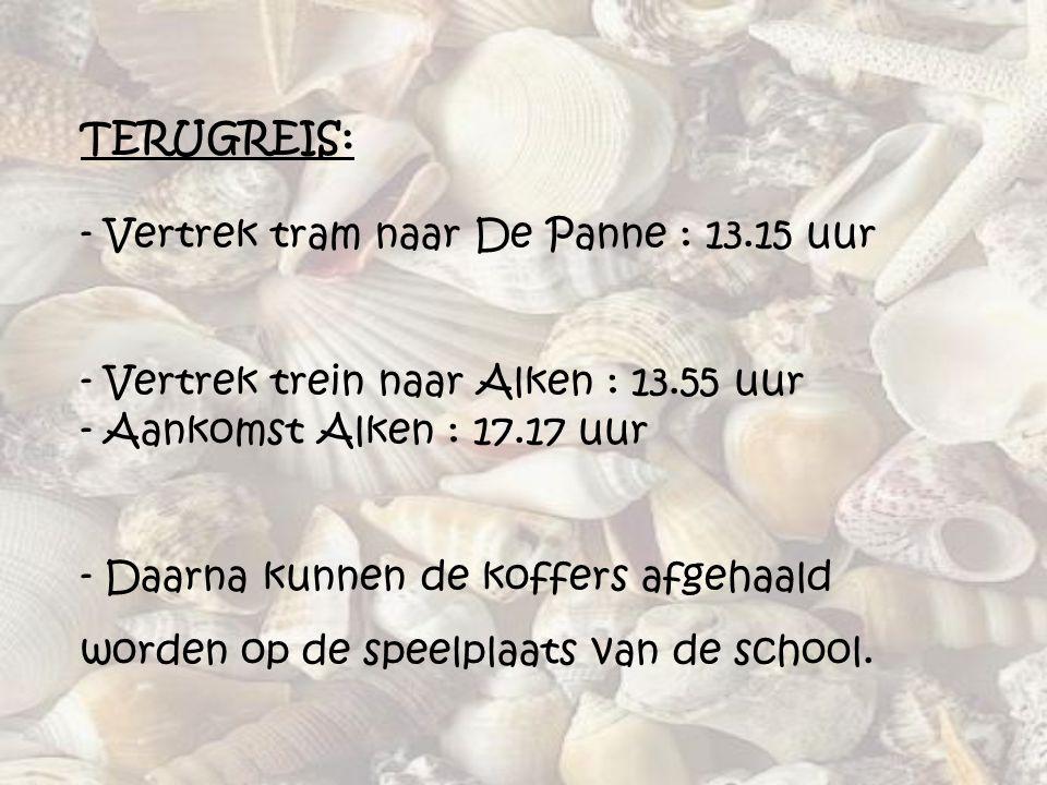 TERUGREIS: - Vertrek tram naar De Panne : 13.15 uur - Vertrek trein naar Alken : 13.55 uur - Aankomst Alken : 17.17 uur - Daarna kunnen de koffers afg