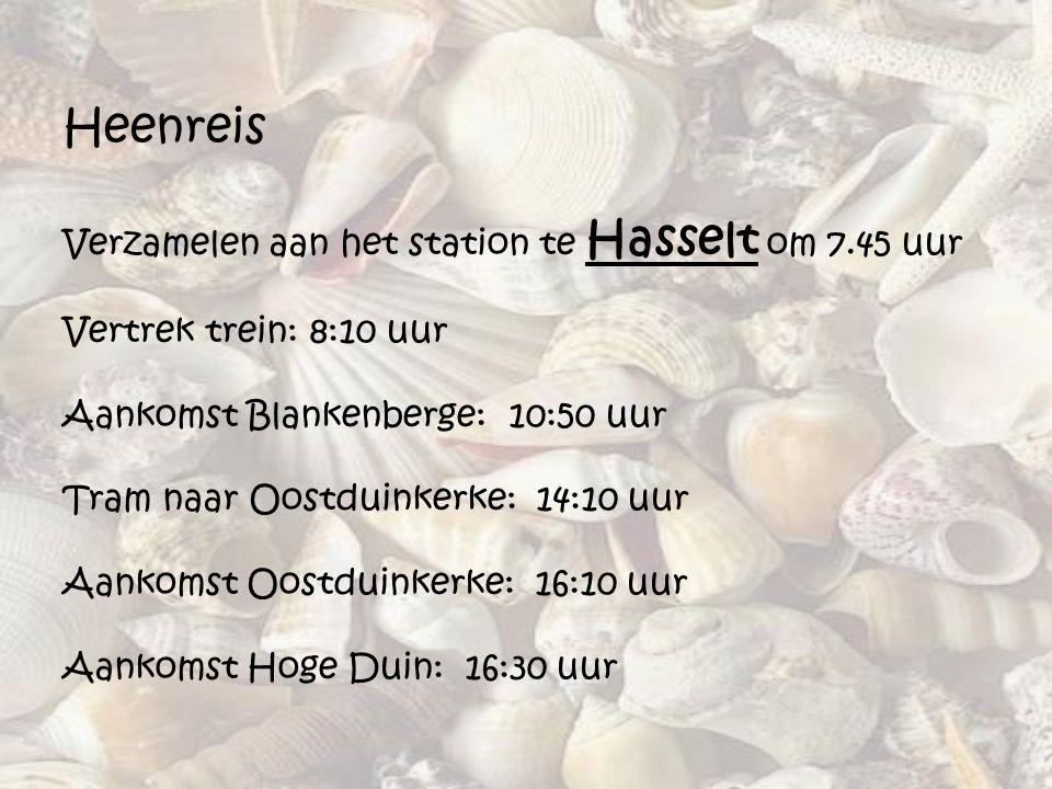 Heenreis Verzamelen aan het station te Hasselt om 7.45 uur Vertrek trein: 8:10 uur Aankomst Blankenberge: 10:50 uur Tram naar Oostduinkerke: 14:10 uur