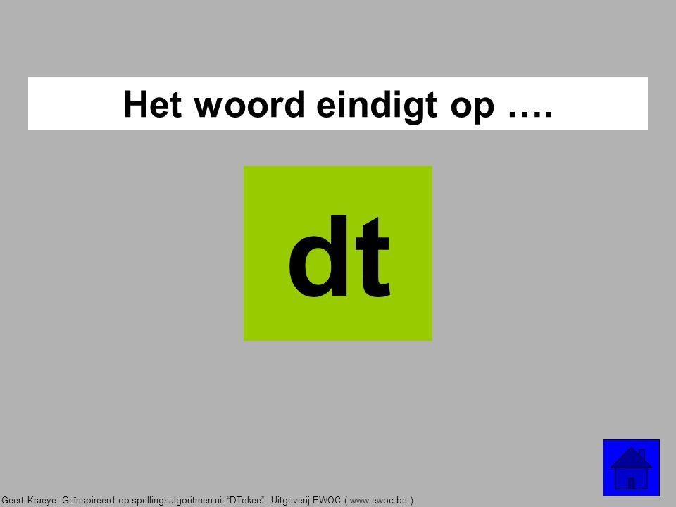 "Geert Kraeye: Geïnspireerd op spellingsalgoritmen uit ""DTokee"": Uitgeverij EWOC ( www.ewoc.be ) Het woord eindigt op …. t"