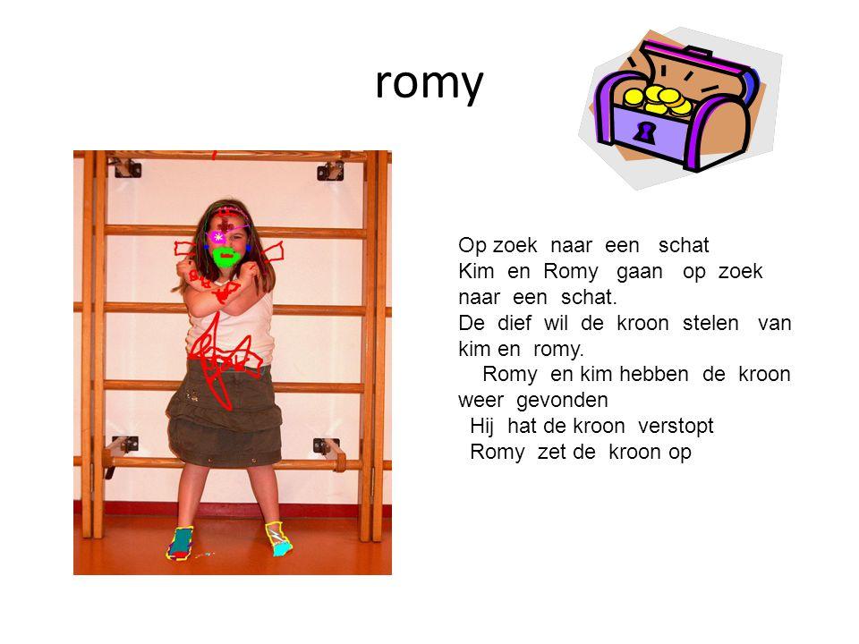 romy Op zoek naar een schat Kim en Romy gaan op zoek naar een schat. De dief wil de kroon stelen van kim en romy. Romy en kim hebben de kroon weer gev