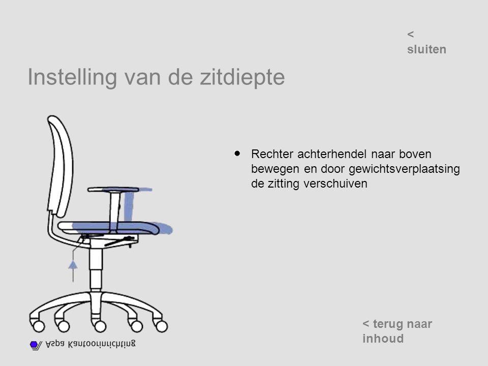 Instelling van de zitdiepte Rechter achterhendel naar boven bewegen en door gewichtsverplaatsing de zitting verschuiven < sluiten < terug naar inhoud
