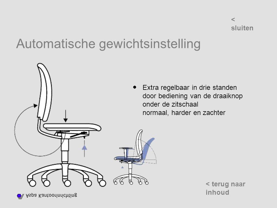 Automatische gewichtsinstelling Extra regelbaar in drie standen door bediening van de draaiknop onder de zitschaal normaal, harder en zachter < sluiten < terug naar inhoud