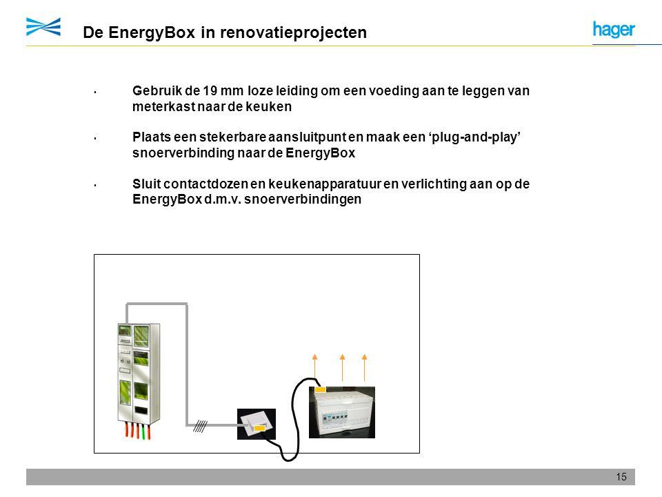 15 De EnergyBox in renovatieprojecten • Gebruik de 19 mm loze leiding om een voeding aan te leggen van meterkast naar de keuken • Plaats een stekerbar