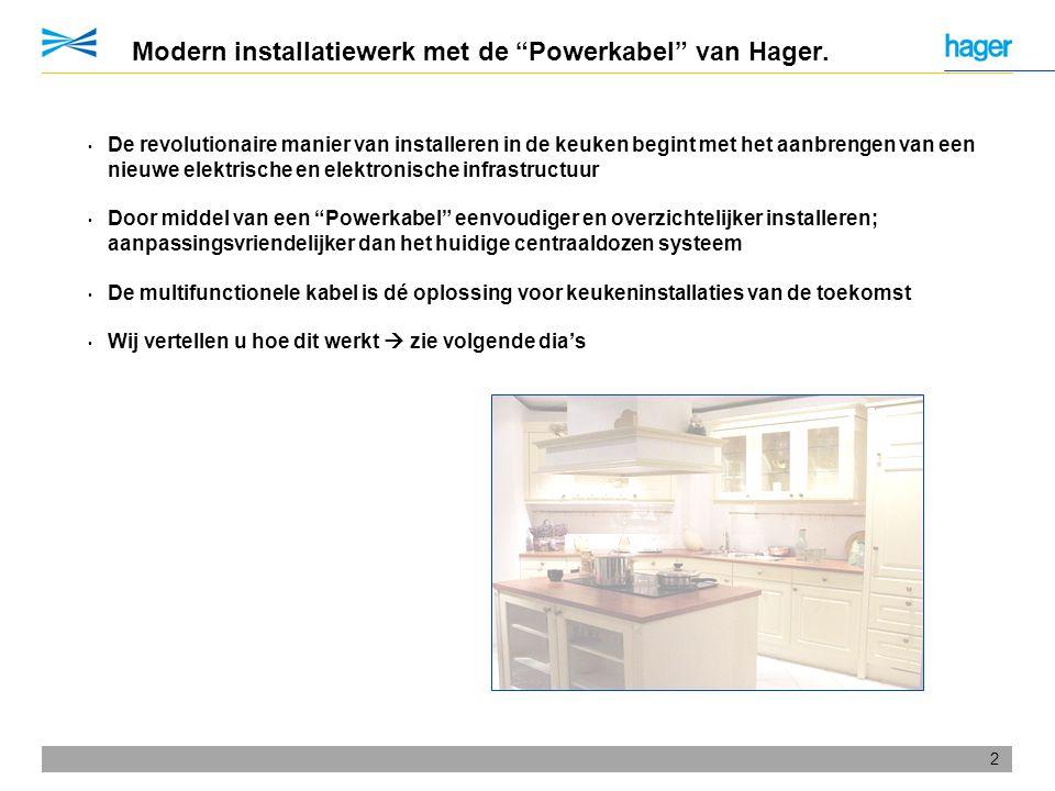 """2 Modern installatiewerk met de """"Powerkabel"""" van Hager. • De revolutionaire manier van installeren in de keuken begint met het aanbrengen van een nieu"""