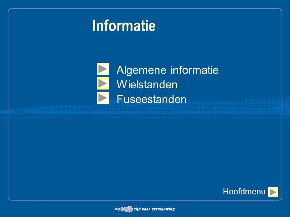 Informatie Algemene informatie Wielstanden Fuseestanden Hoofdmenu