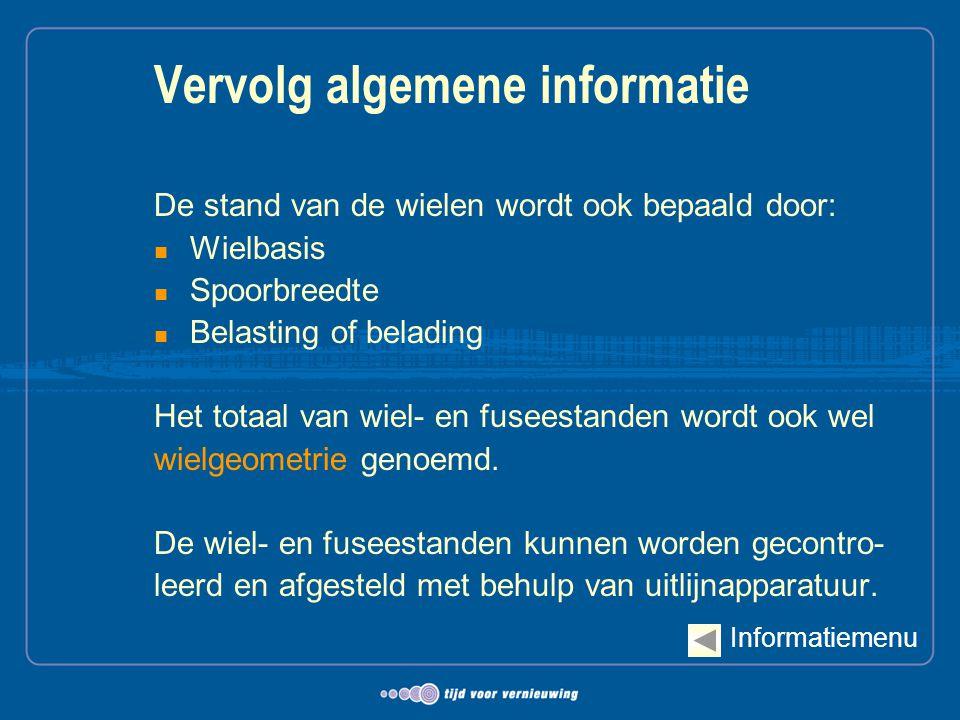 Vervolg algemene informatie De stand van de wielen wordt ook bepaald door:  Wielbasis  Spoorbreedte  Belasting of belading Het totaal van wiel- en