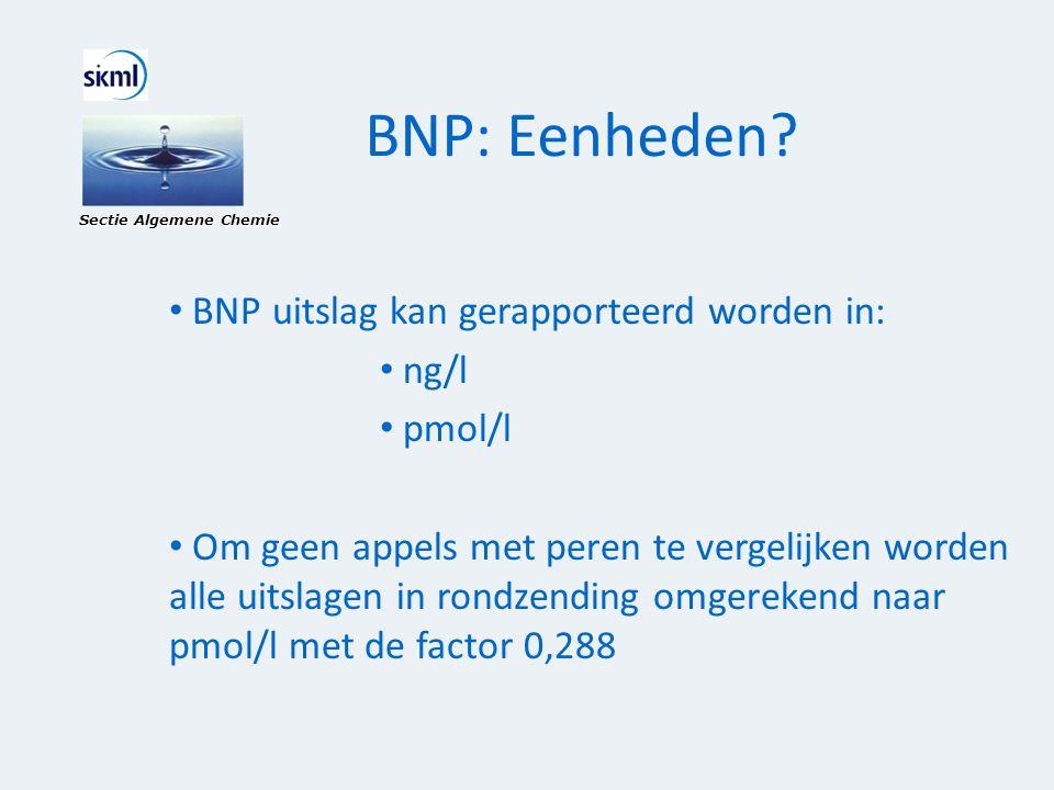 BNP: Eenheden? Sectie Algemene Chemie • BNP uitslag kan gerapporteerd worden in: • ng/l • pmol/l • Om geen appels met peren te vergelijken worden alle