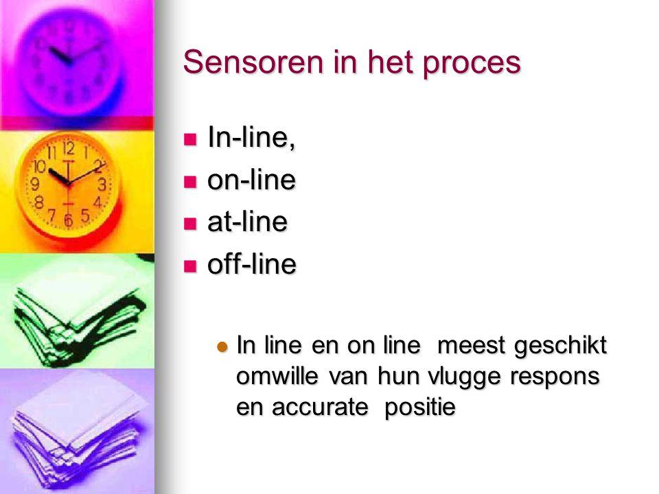 Sensoren in het proces  In-line,  on-line  at-line  off-line  In line en on line meest geschikt omwille van hun vlugge respons en accurate positi