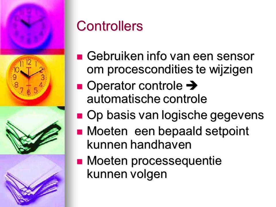 Controllers  Gebruiken info van een sensor om procescondities te wijzigen  Operator controle  automatische controle  Op basis van logische gegeven