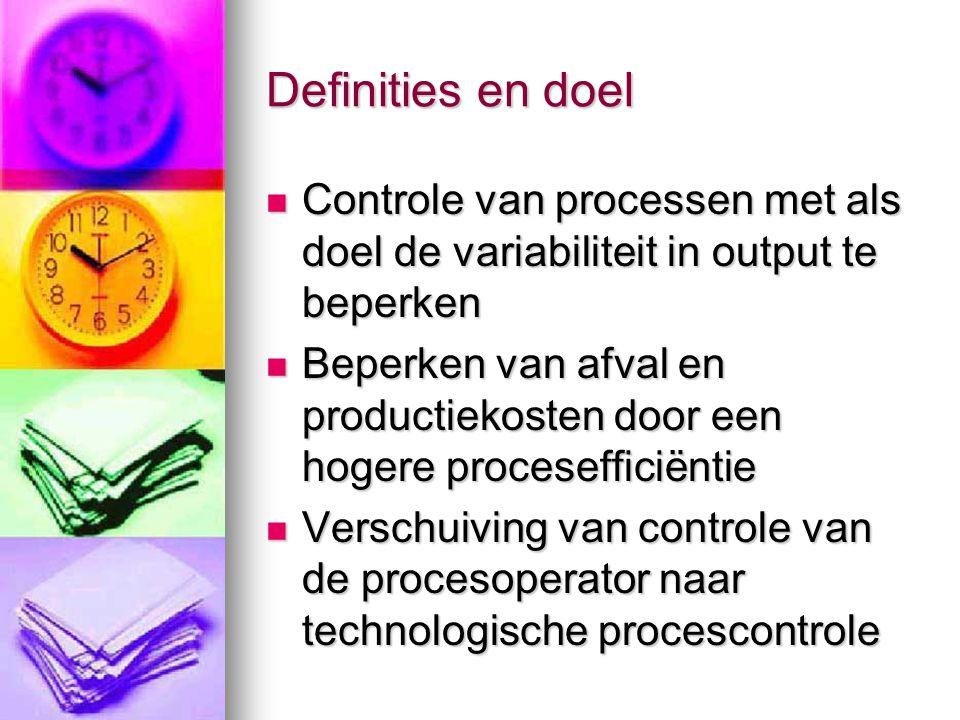 Definities en doel  Controle van processen met als doel de variabiliteit in output te beperken  Beperken van afval en productiekosten door een hoger