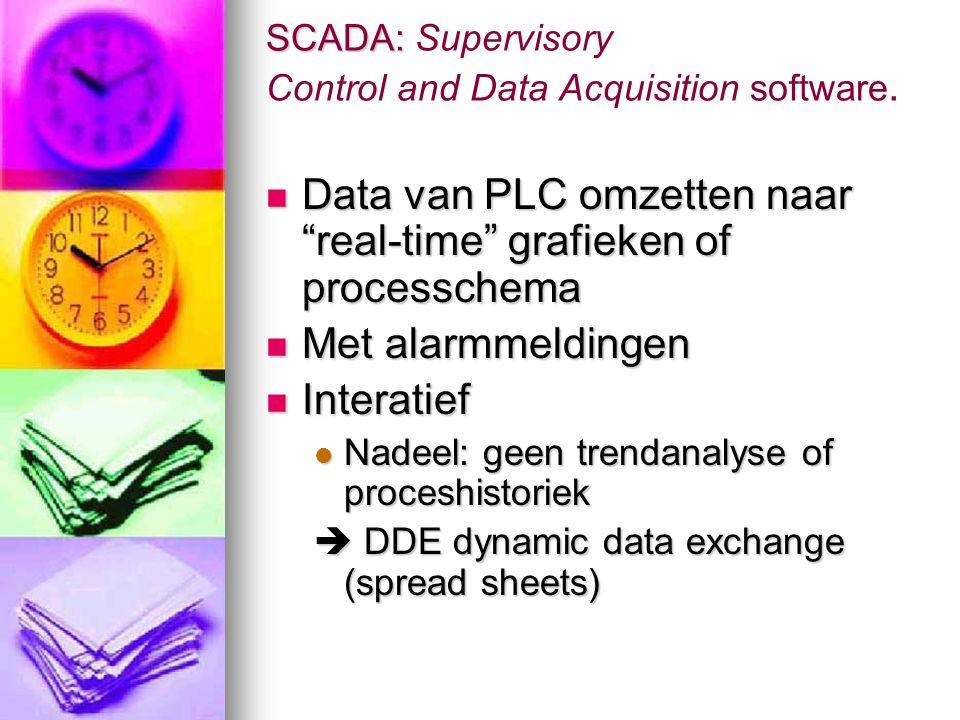 """SCADA: SCADA: Supervisory Control and Data Acquisition software.  Data van PLC omzetten naar """"real-time"""" grafieken of processchema  Met alarmmelding"""