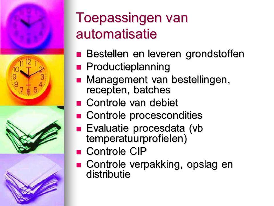 Toepassingen van automatisatie  Bestellen en leveren grondstoffen  Productieplanning  Management van bestellingen, recepten, batches  Controle van