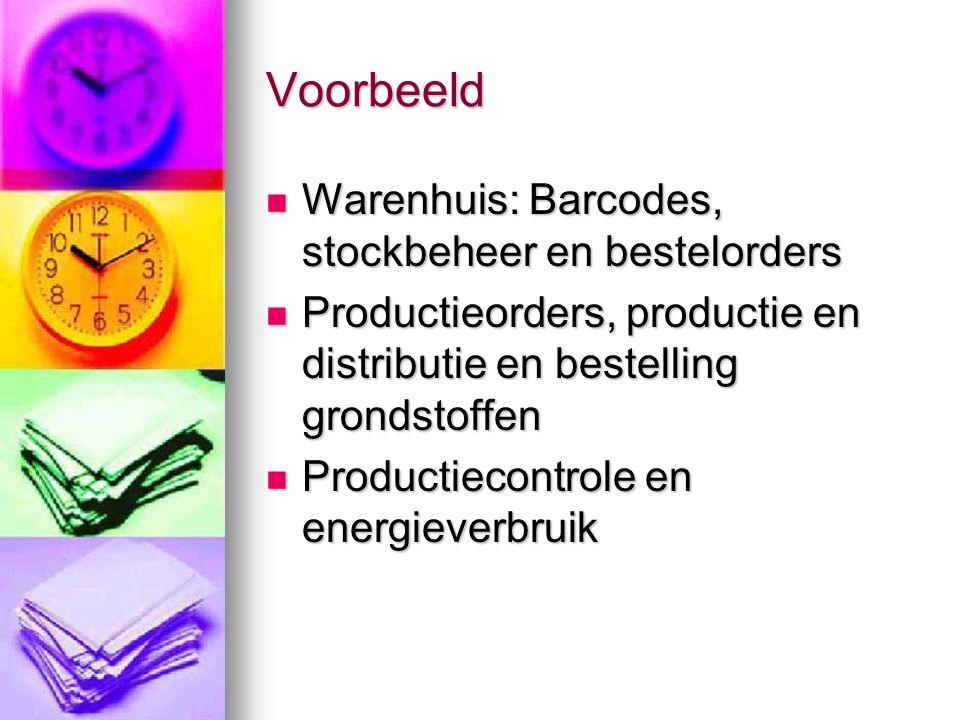 Voorbeeld  Warenhuis: Barcodes, stockbeheer en bestelorders  Productieorders, productie en distributie en bestelling grondstoffen  Productiecontrol