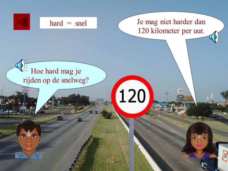 22 hard = snel Hoe hard mag je hier rijden? Je mag hier niet harder dan 100.