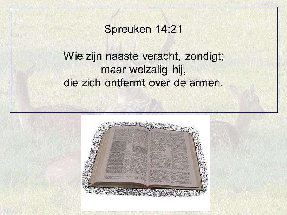 Spreuken 14:21 Wie zijn naaste veracht, zondigt; maar welzalig hij, die zich ontfermt over de armen.