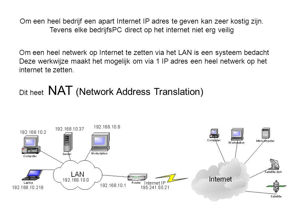 Om een heel bedrijf een apart Internet IP adres te geven kan zeer kostig zijn. Tevens elke bedrijfsPC direct op het internet niet erg veilig Om een he