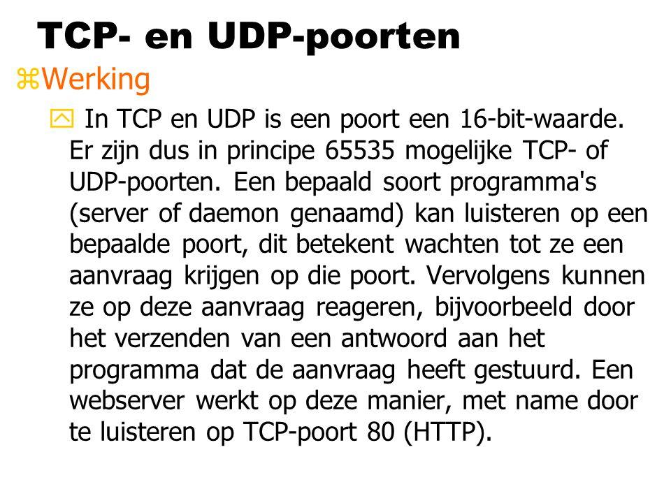 TCP- en UDP-poorten zWerking y In TCP en UDP is een poort een 16-bit-waarde. Er zijn dus in principe 65535 mogelijke TCP- of UDP-poorten. Een bepaald