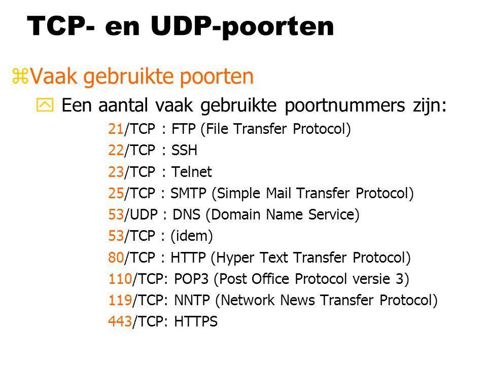 TCP- en UDP-poorten zVaak gebruikte poorten y Een aantal vaak gebruikte poortnummers zijn: 21/TCP : FTP (File Transfer Protocol) 22/TCP : SSH 23/TCP :