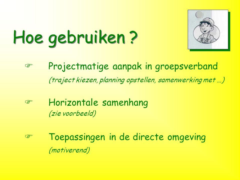 Hoe gebruiken ? FProjectmatige aanpak in groepsverband (traject kiezen, planning opstellen, samenwerking met …) FHorizontale samenhang (zie voorbeeld)