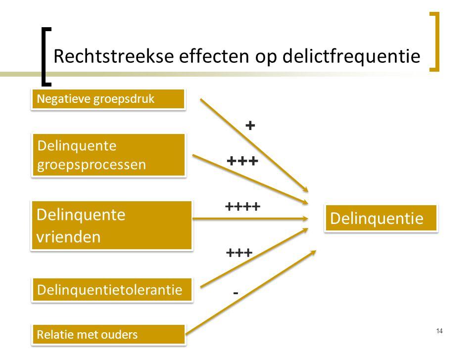 Rechtstreekse effecten op delictfrequentie 14 Delinquentie Negatieve groepsdruk Delinquente groepsprocessen Delinquente vrienden Delinquentietolerantie Relatie met ouders + ++++ +++ -