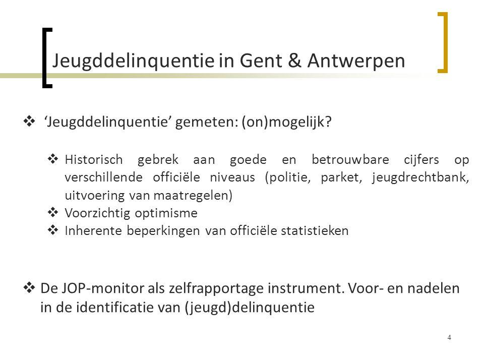 Jeugddelinquentie in Gent & Antwerpen 4  'Jeugddelinquentie' gemeten: (on)mogelijk.