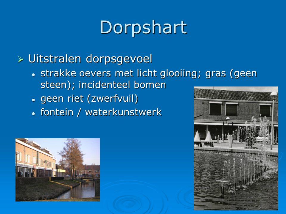 10 Dorpshart  Uitstralen dorpsgevoel  strakke oevers met licht glooiing; gras (geen steen); incidenteel bomen  geen riet (zwerfvuil)  fontein / wa
