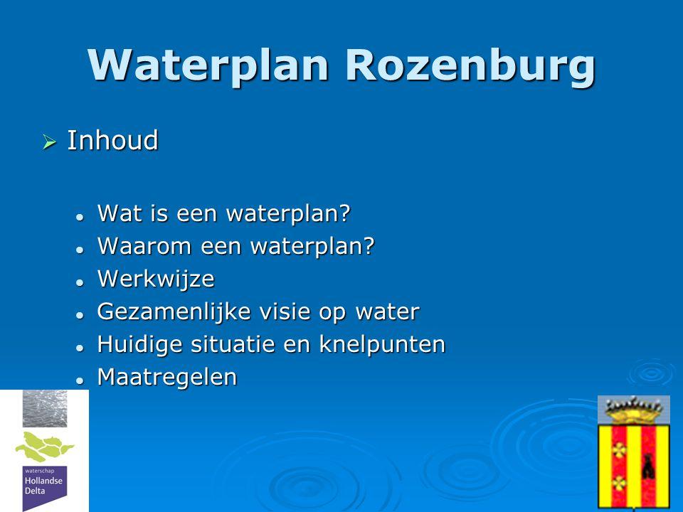 2  Inhoud  Wat is een waterplan?  Waarom een waterplan?  Werkwijze  Gezamenlijke visie op water  Huidige situatie en knelpunten  Maatregelen