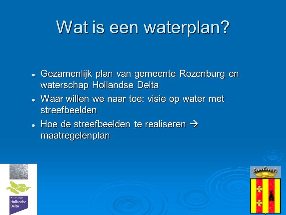 3 Wat is een waterplan?  Gezamenlijk plan van gemeente Rozenburg en waterschap Hollandse Delta  Waar willen we naar toe: visie op water met streefbe