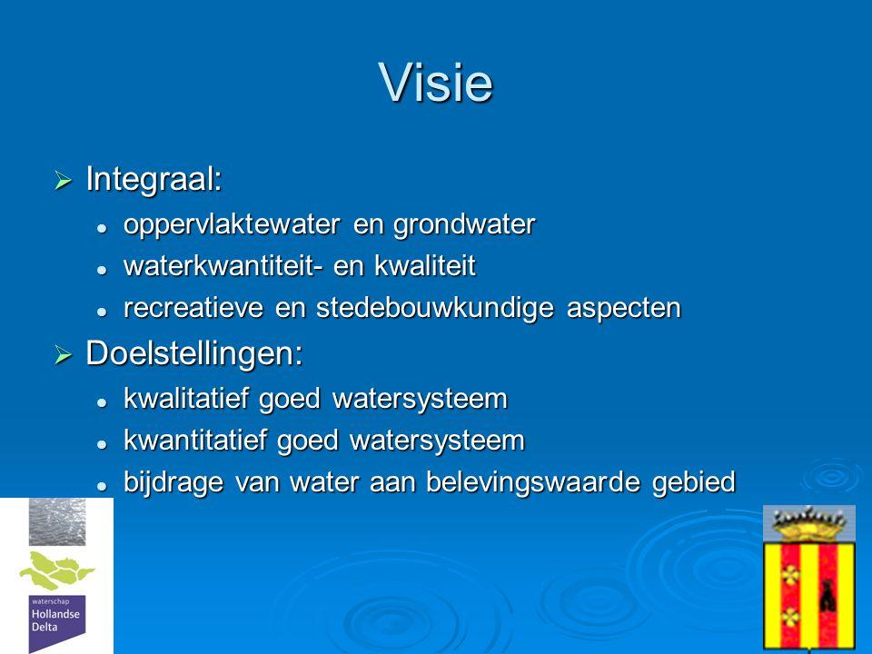 8 Uitwerking doelstellingen  Waterkwaliteit  biologisch gezond (dus ook goede ecologie)  variatie in ecosystemen (en ook viswatertypen)  Waterkwantiteit  bestand tegen intensieve regenval  bestand tegen langdurige droogte  Waterbeleving  water bruikbaar voor ontspanning (hengelsport, spelevaren, fraai om langs te wandelen, etc)  Duurzaam waterbeheer  Zoveel mogelijk maatregelen aan de bron  Robuuste inrichting voor een veerkrachtig systeem