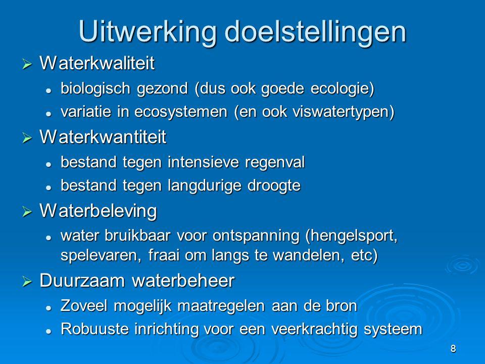 8 Uitwerking doelstellingen  Waterkwaliteit  biologisch gezond (dus ook goede ecologie)  variatie in ecosystemen (en ook viswatertypen)  Waterkwan