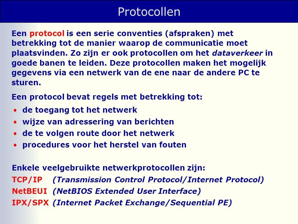 Proxy-servers Proxy-server: gateway als tussenpersoon tussen browser (client) en Internet • tussenpersoon voor onbekende protocollen • beheren van een cache • blokkeren van toegang tot bepaalde sites FTP-antwoord HTTP-antwoord FTP-aanvraag HTTP-aanvraag HTTP browser proxy server FTP server