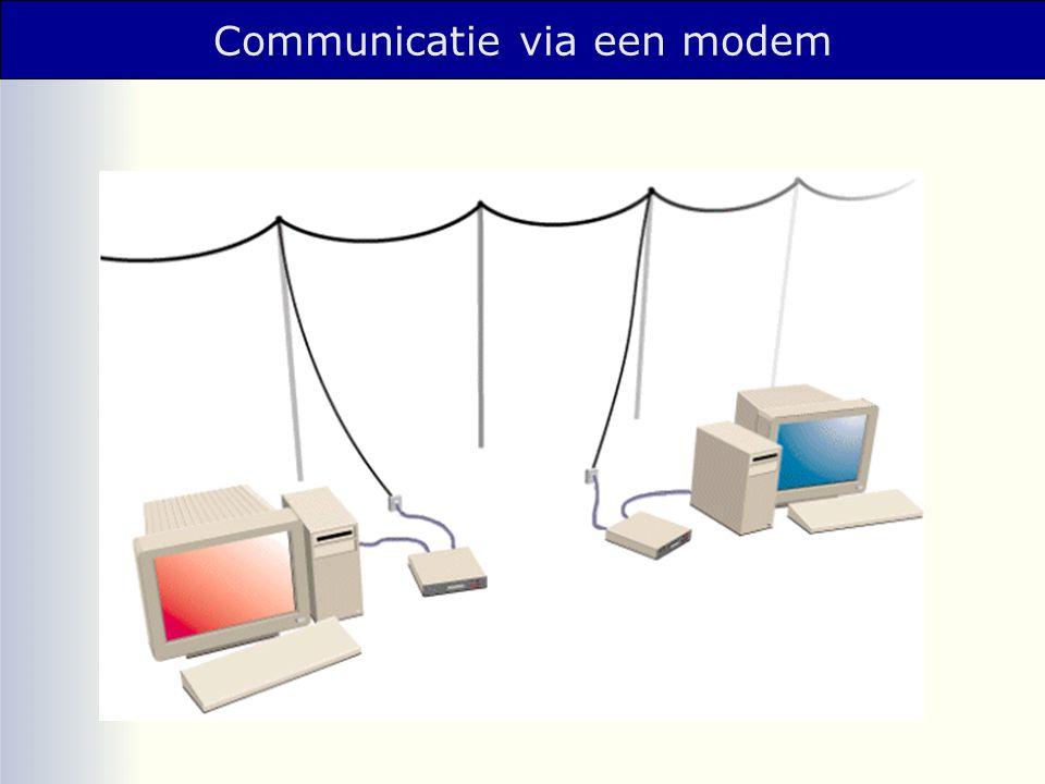 Communicatie via een modem computer 1 modem 1modem 2 computer 2 telefoonlijn 10100101