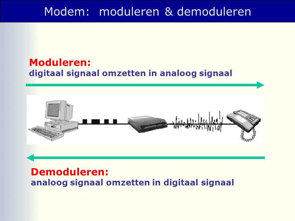 Topologie: netwerkstructuren Bus-netwerk: • open aan de uiteinden • één gemeenschappelijk communicatie-kanaal (de backbone) Ring-netwerk: • gesloten netwerk waarin maar een enkel pakket tegelijk kan worden verzonden.