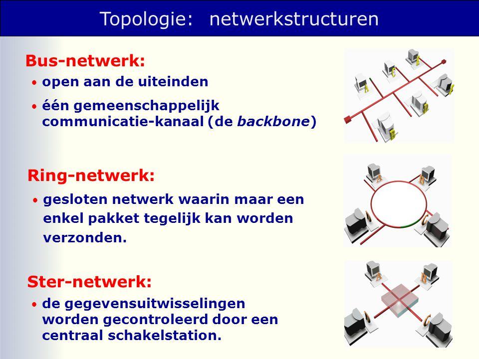 Schakeltechnieken 1.Broadcast (omroep) Elk bericht wordt over het hele net verzonden, alleen de geadresseerde neemt het bericht van het net.