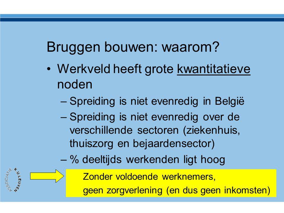 Bruggen bouwen: waarom? •Werkveld heeft grote kwantitatieve noden –Spreiding is niet evenredig in België –Spreiding is niet evenredig over de verschil