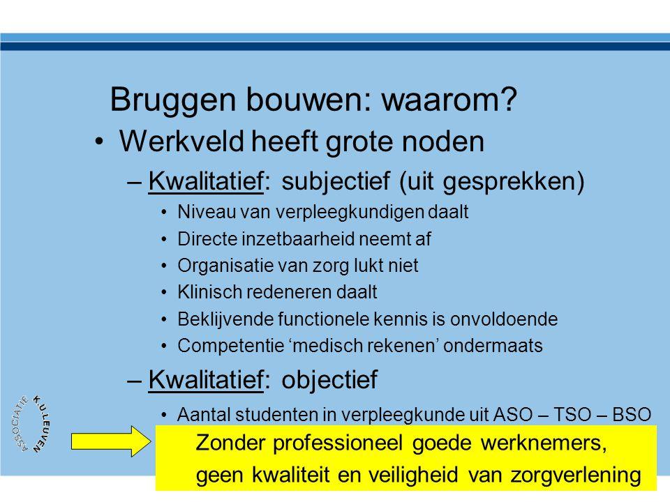 Bruggen bouwen: waarom? •Werkveld heeft grote noden –Kwalitatief: subjectief (uit gesprekken) •Niveau van verpleegkundigen daalt •Directe inzetbaarhei
