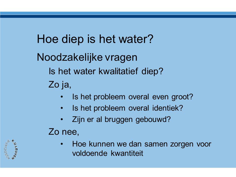 Hoe diep is het water? Noodzakelijke vragen Is het water kwalitatief diep? Zo ja, •Is het probleem overal even groot? •Is het probleem overal identiek