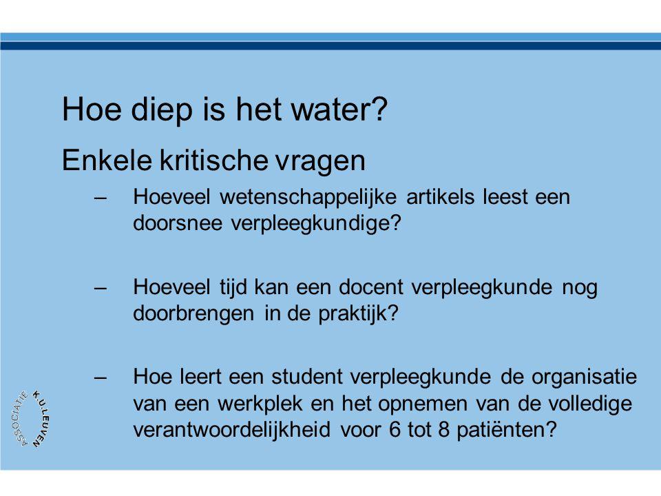 Hoe diep is het water? Enkele kritische vragen –Hoeveel wetenschappelijke artikels leest een doorsnee verpleegkundige? –Hoeveel tijd kan een docent ve