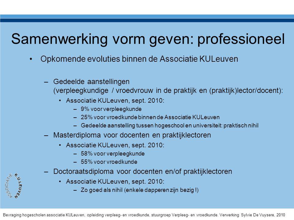 Samenwerking vorm geven: professioneel •Opkomende evoluties binnen de Associatie KULeuven –Gedeelde aanstellingen (verpleegkundige / vroedvrouw in de