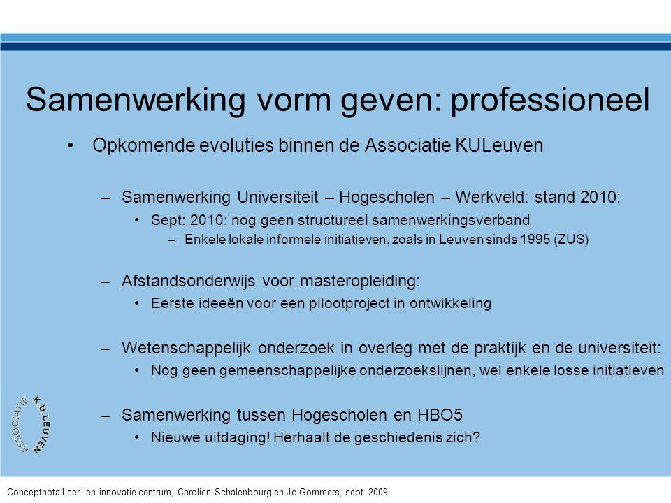 Samenwerking vorm geven: professioneel •Opkomende evoluties binnen de Associatie KULeuven –Samenwerking Universiteit – Hogescholen – Werkveld: stand 2