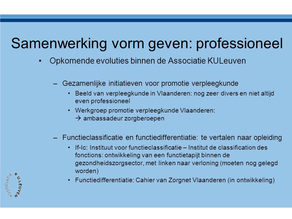 Samenwerking vorm geven: professioneel •Opkomende evoluties binnen de Associatie KULeuven –Gezamenlijke initiatieven voor promotie verpleegkunde •Beel