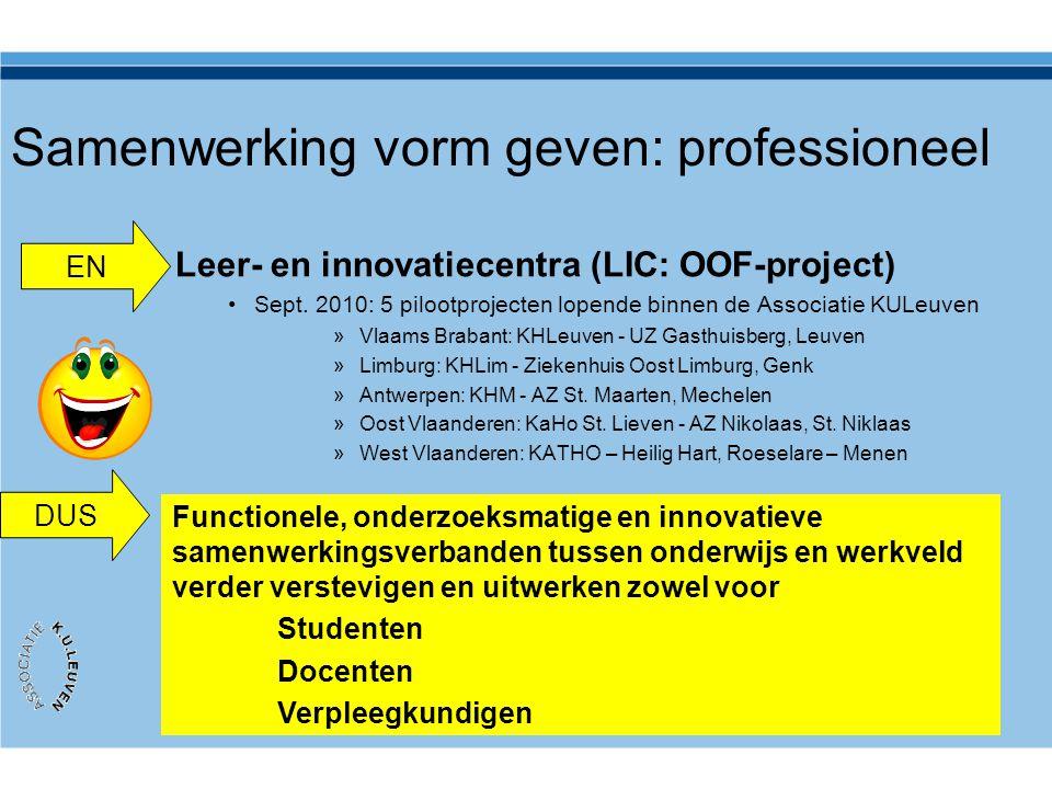 Samenwerking vorm geven: professioneel Leer- en innovatiecentra (LIC: OOF-project) •Sept. 2010: 5 pilootprojecten lopende binnen de Associatie KULeuve